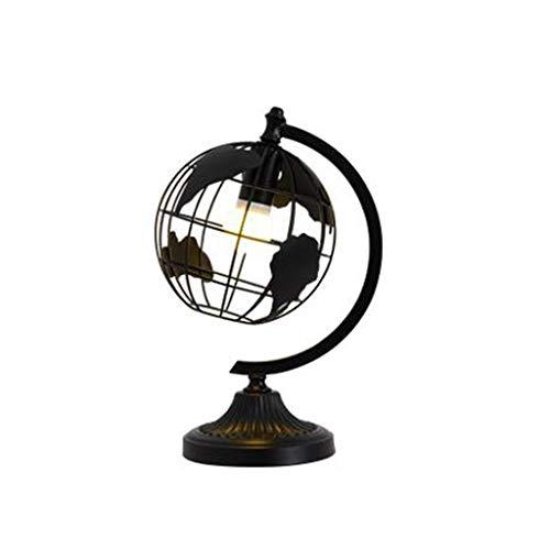 JXL Tischlampe Nachttischlampe Schlafzimmer Studie Büro Schlafsaal Dekoration Lampe Globus Tischlampe Schmiedeeisen Nordischen Stil Dimmbare E27 Schraube,Black