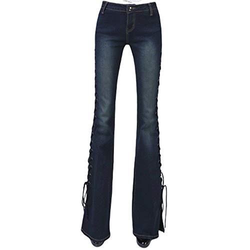 SANJIBAO Las Mujeres de Cintura Alta Jeans Acampanados Retro Alta Elasticidad Vendaje en el Lado Abierto Pies Slim Fit (2 Colores),Darkblue,L