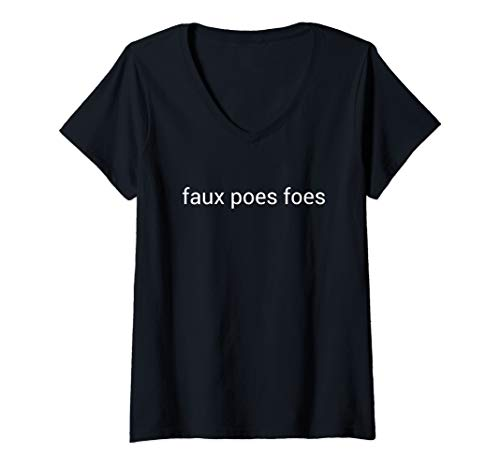 Womens Faux Poes Foes V-Neck T-Shirt