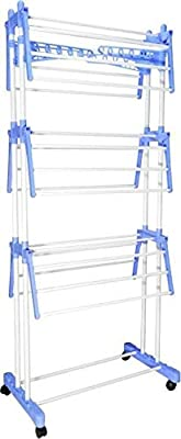 Soni Hardware Product Stainless Steel Cloth Drying Stand for Balcony with 2 Poll & 2 Layers Foldable + Moveable (Blue)