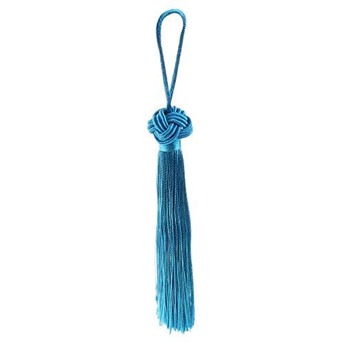 Hangqiao Bordado Chino Nudo Borlas Colgantes Decoraciones De Hogar Coche - Azul Claro