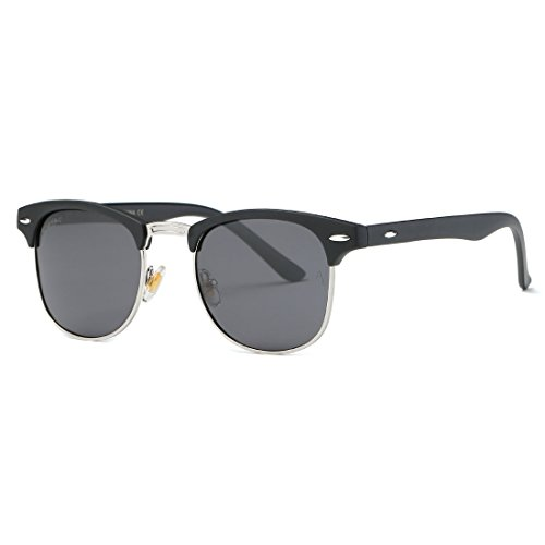 AEVOGUE Polarized Sunglasses Semi-Rimless Frame Brand Designer Classic AE0369 (Matte Black&Silver&Black, 48)
