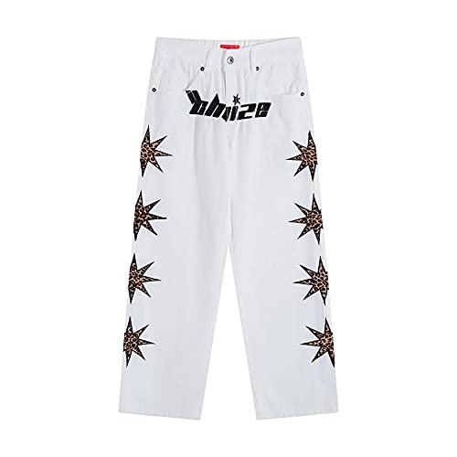 Vaqueros para Hombre Jeans Star Embroidery Letter Retro Pantalones Vaqueros Blancos para Hombres Y Mujeres High Street Pantalones De Mezclilla Rectos Lavados Rasgados Oversize Asianl WH
