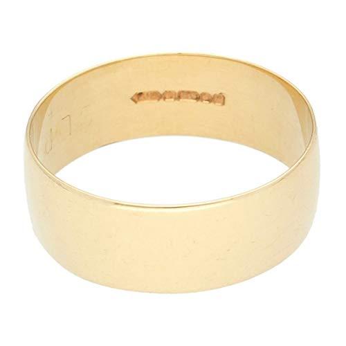 Jollys Jewellers Men's 9Carat Yellow Gold D-Shape Wedding Band (Size U) 7mm Width