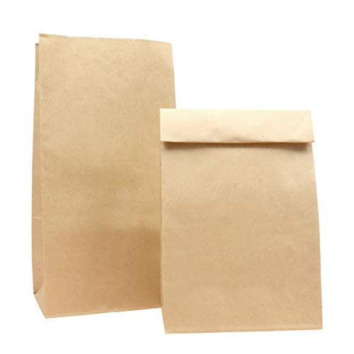 Paper Lunch Bags, Kslong 50pcs Brown Paper Bags 6 Lb 6.1x3.9x11.8' Durable Kraft Bags Grocery Bag Bakery Bread Sandwich Bag Shopping Party Favor Gift Wrapping Bags Bulk(Brown 8)
