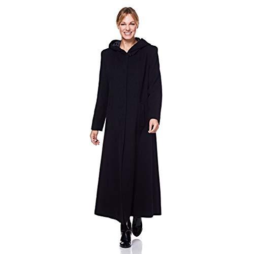 De La Creme - Einreihiger Wintermantel mit Abnehmbarer Fellkapuze aus Wolle, schwarz, Größe 40