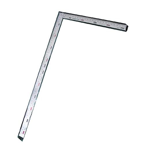 Regla de metal de acero inoxidable de 500 mm Regla cuadrada de medición Regla de doble ángulo en forma de L para herramientas de costura de cuero hechas a mano de bricolaje 1 pieza Utilidades Herrami