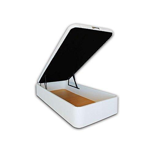 Ventadecolchones - Canapé Abatible Serena Gran Capacidad Tapizado en Polipiel Blanco Medidas 90 x 190 cm en Tejido 3D