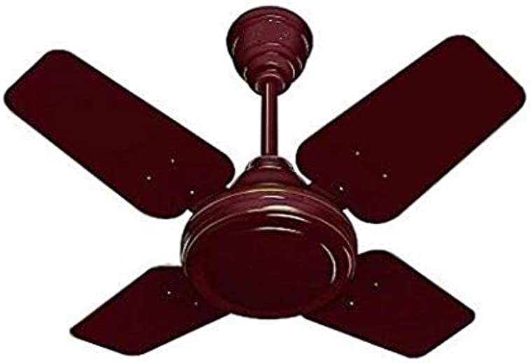 DAKSHRUP 600 mm / 24 Inch High Speed 4 Blade Anti-Dust Ceiling Fan Suitable for Kitchen / Veranda / Balcony / Small Room with 900 RPM Brown (Glossy Brown)_D07