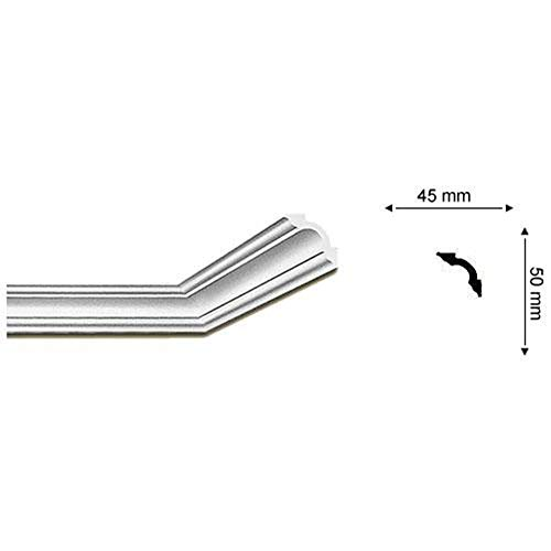 Cornisa/Moldura decorativa techo blanca NMC NOMASTYL® A2 50X50X2000mm Poliestireno 2 metros