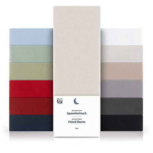 Blumtal Basics Sábana Bajera Ajustable de Microfibra Cepillada - Sábana Bajera para colchón de 25-27 cm de Altura, Cama 135: 135 x 190 x 30 cm, Marfil