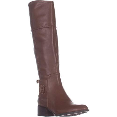 Tommy Hilfiger Womens Merritt Faux Leather Riding Boots Brown 8 Medium (B,M)