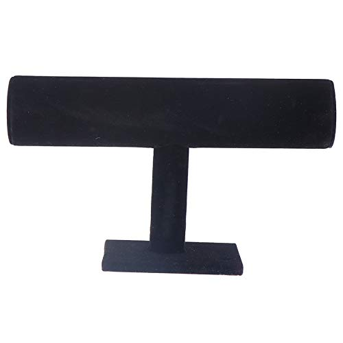 LotCow Black Velvet Hovering T-Bar Bracelet Necklace Jewelry Display Stand for Home Organization
