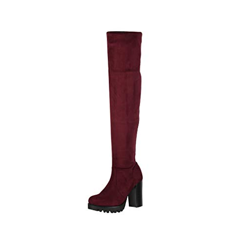 Elara Botas Mujer Overknee High Heels Tacón Alto Chunkyrayan Burdeos 0-96-Burgundy-36