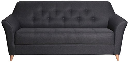 CANAPES TISSUS Stockholm Canapé Scandinave Convertible, Chenille, Anthracite, 188 x 85 x 83 cm