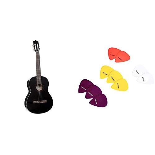 """Yamaha C40BLII Chitarra Classica - Chitarra 4/4 Classica in Legno (65 cm, scala da 25 9/16"""") - 6 Corde in Nylon, Nero & Amazon Basics Plettri, tinta unita, in celluloide, 10 pezzi"""