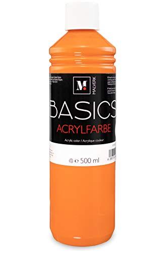 Malverk Basics - je 500ml hochwertige Acrylfarbe orange - geeignet für Acryl Pouring