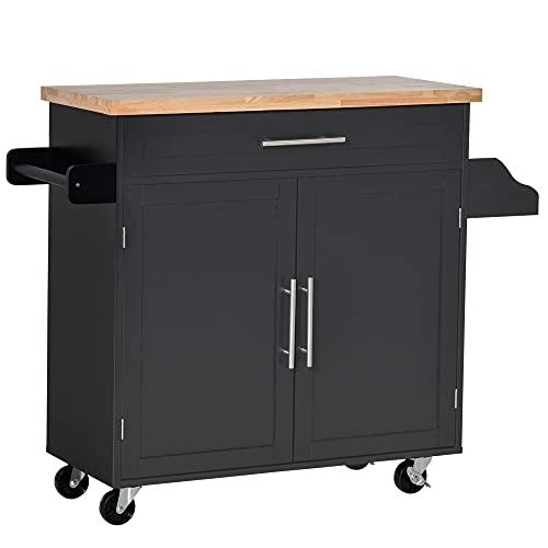 HOMCOM Carrello da Cucina con Cassetto, Portaspezie e Armadietto, 4 Ruote e Piano di Lavoro in Legno, 109x40x89cm, Nero