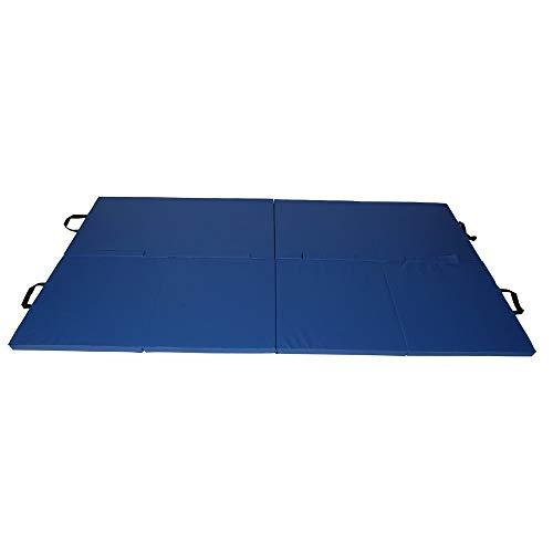 Exercise Mat - Blue - Gymnastics Martial Arts MMA Yoga Pilates Karate Judo Wrestling - Foldable Durable Mat, Fire Retardant, Tear Resistant Vinyl from FactoryFast