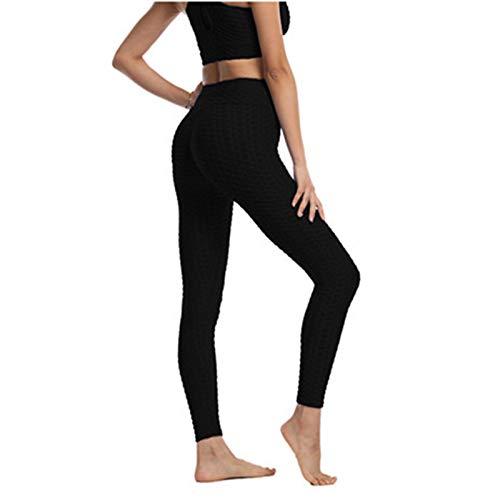 QLGRXWL Jacquard Bubble Deportes Suit Mujer ajustado Ejercicio Fitness Jacquard Bubble Pantalones sin soldadura sujetador de deporte, Negro , small