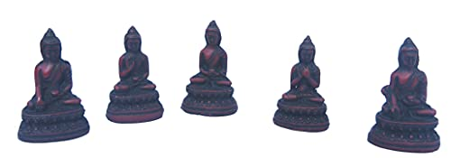 mytibetshop Mini Buddha Statue Set of 5, Buddha Statue in 5 Different, Earth Touching Buddha, Meditating Buddha, Medicine Buddha, Dharma Buddha, Serenity Buddha Made by Himalayan Artisan in Nepal
