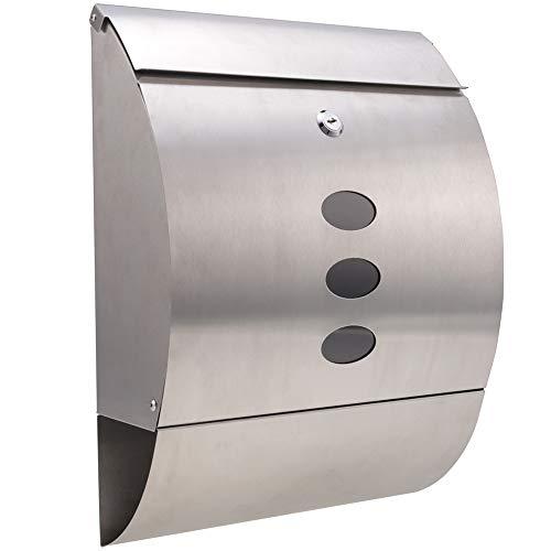 Meditool Cassette della posta Cassette postali con fissaggio a parete acciaio inossidabile  40 x 12 x 30cm (3 finestre 2 Chiavi) ,Argento