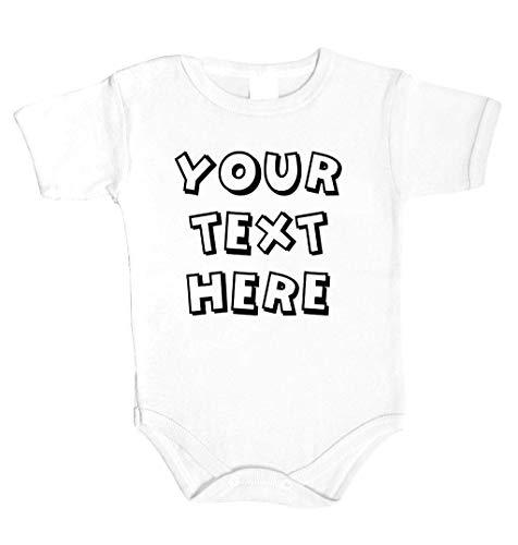Ihr Wunsch Text Hier Baby Body Selbst Gestalten individueller Druck Personalisiert Babykleidung Strampler Unterwäsche beeindruckend Geschenk Überraschung Geburtstag Weihnachts (68 (3-6m), WEISS)