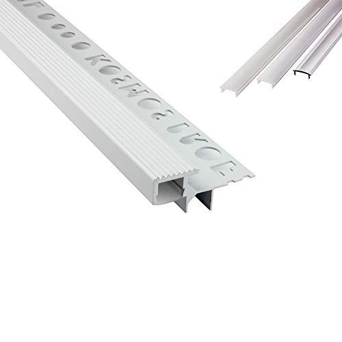 T-40 LED Alu Fliesenprofil Treppenprofil Stufen 10mm weiss + Abdeckung Abschlussleiste Fliesen für LED-Streifen-Strip 2m milky