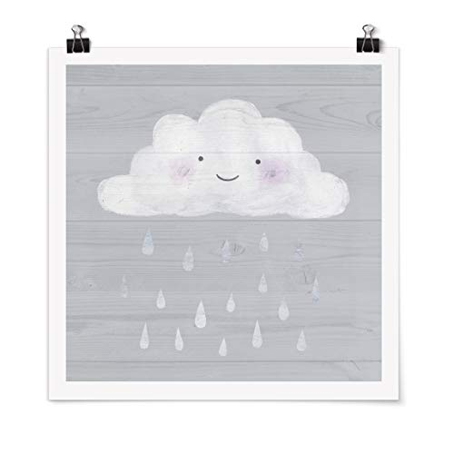 Bilderwelten Poster - Cloud with Silver Raindrops Carré Fini satiné Autocollant 50 x 50cm