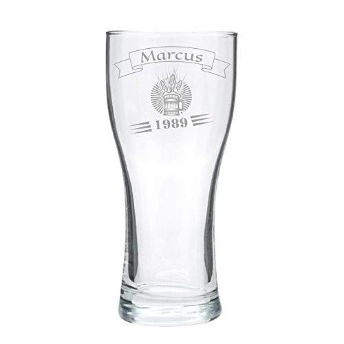Vaso de cerveza personalizado, grabado - clásico (compacto) - diseño 2