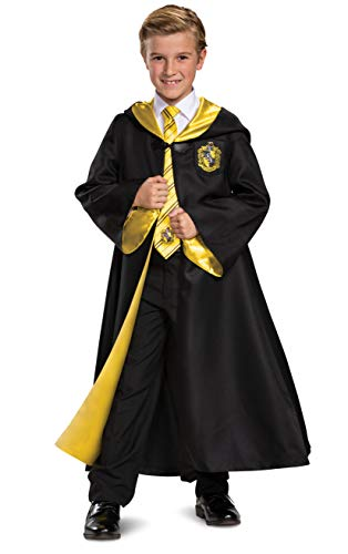 Harry Potter Hufflepuff Robe Prestige Children's Costume Accessory, Black & Yellow, Kids Size Large (10-12)