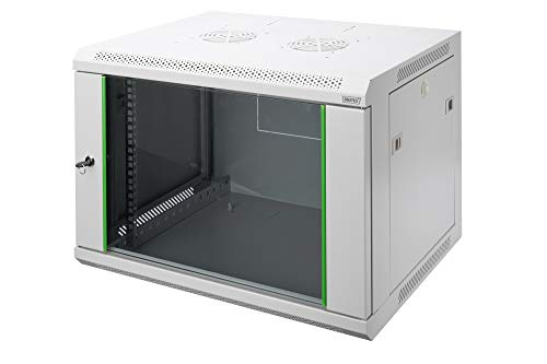 DIGITUS Netzwerk-Schrank 19 zoll 7 HE - Wandmontage - 450 mm Tiefe - Traglast 60 kg - Dynamic Basic - Glastür - Grau