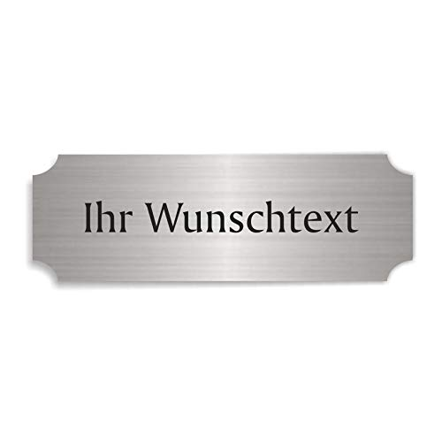 Silberfarbenes Schild IHR WUNSCHTEXT - ca. 15 x 5 cm - selbstklebend wetterfest personalisiert