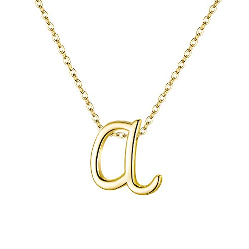 EVER FAITH Collar con colgante de letra A, de plata de ley 925, pequeño alfabeto, tono dorado, para mujeres y niñas