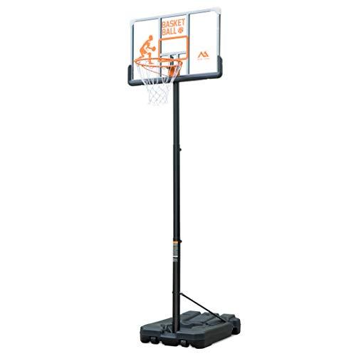 Sistema di Supporto per canestro da Basket Portatile Silver Valley PRO Court con tabellone in policarbonato Trasparente Deluxe e Bordo a Molla