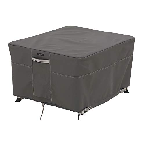 Classic Accessories 56-045-045101-EC Ravenna Water-Resistant 60 Inch Square Patio Table Cover,Taupe,Fits square patio tables 60'L x 60'W x 23'H (Large)
