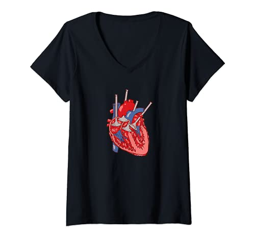Mujer Corazón de la válvula del motor Camiseta Cuello V