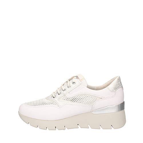 sneakers donna primavera 2020 Valleverde Sneakers Donna Tessuto e Pelle 18252 Bianco Una Calzatura Comoda Adatta per Tutte Le Occasioni. Primavera Estate 2020. EU 36