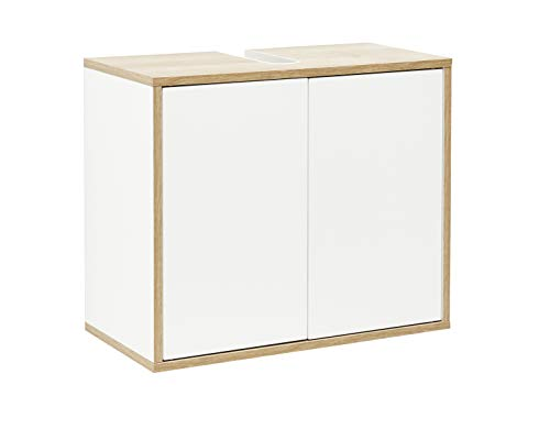 FACKELMANN Waschbeckenunterschrank Finn/Badschrank mit Push-to-Open/Maße (B x H x T): ca. 60 x 50 x 30,5 cm/Schrank fürs Bad mit 2 Türen/Korpus: Weiß/Front: Weiß/Rahmendekor: Braun hell