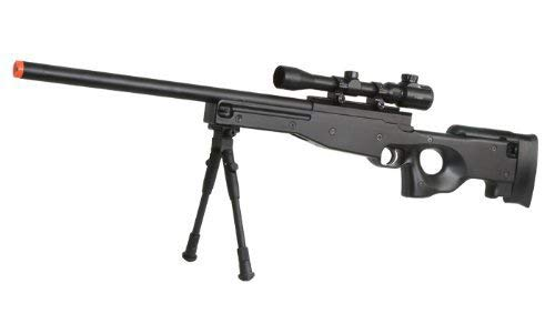 BBTac Airsoft Sniper Rifle Bolt Action Gun Full Metal Spring Loaded with Scope and Bipod High FPS, Black, 30