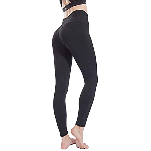 AKSE Yoga-Hosen, laufende Sport-Fitness-Hose dicht, die hohe Taille atmungsaktiv gestreckt black-M