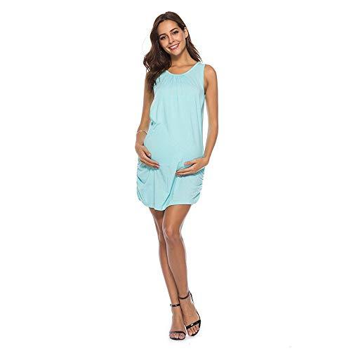 Vestido de Maternidad para Mujer Moda Color Sólido Ropa premamá sin Mangas Suelto Casuales Lactancia Materna Vestidos Falda de Mujer Falda de Verano Embarazadas MMUJERY