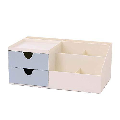 Wimark.1 caja de almacenamiento multifuncional de escritorio de doble cajón, se utiliza para organizar bolígrafos, papelería, tarjetas de visita, mando a distancia, caja de almacenamiento para reloj despertador