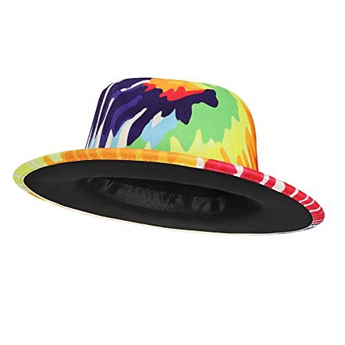 EXTREE Men & Women Wide Brim Wool Felt Fedora Hat with Belt Buckle Unisex Floppy Panama Hat Cowboy Cap Sunhat Black