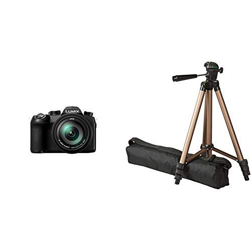 Panasonic DC-FZ1000 II Premium-Bridgekamera (1 Zoll Sensor, 20 MP, 16x Zoom Leica Objektiv, 4K) schwarz & Amazon Basics– Leichtes Kamera-Dreibeinstativ mit Tasche, 41,91–127cm