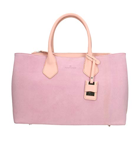 Roberta Rossi Bag Handgefertigte Donna Made in Italy echte Veloursleder mit Doppel-Ledergriffe Made in Italy RR01613FBLNAT