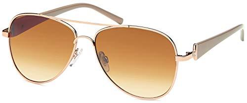 styleBREAKER Damen Pilotenbrille mit getönten Gläsern, Sonnenbrille mit lackierten Bügeln und Strassstein 09020053, Farbe:Gestell Gold-Braun/Glas Braun verlaufend