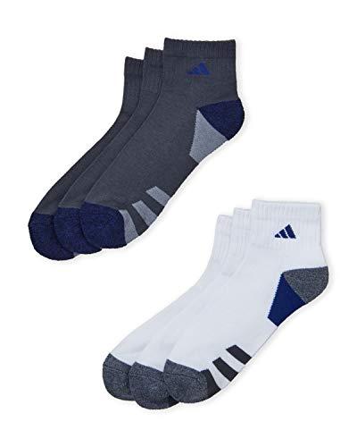 Adidas Athletic Quarter Socks - 6 Pack (Shoe Size 6-12, White/Charcoal/Royal)