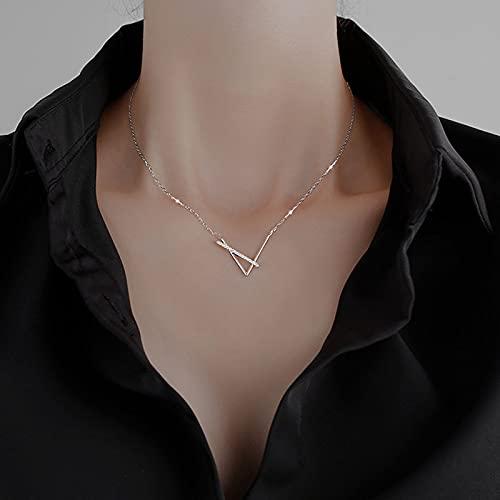 JIAQ Nuevo diseño clásico Famosa Marca V Carta Colgante Colgante for Mujer Titanio Acero Mujer Collar de Lujo joyería de Fiesta (Metal Color : Silver)