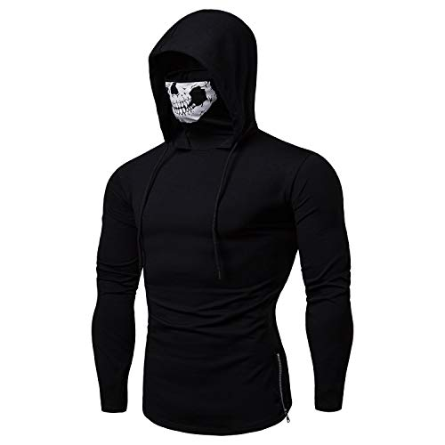Binudum Mens Skull Mask Hoodie Casual Pullover Drawstring Zipper Solid Hooed Sweatshirt Tops for Men Black